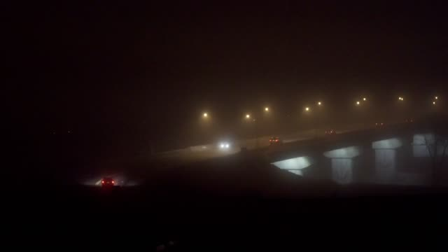 Foggy bridge at night 2 video