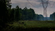 Foggy Fall Moon - High Tension Power Lines- Timelapse Video video