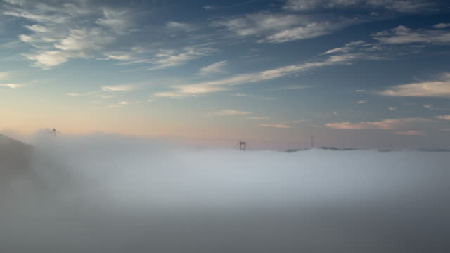 Foggy Sunrise at Golden Gate Bridge. video