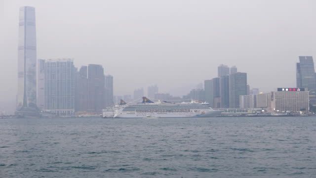 Foggy view of the Victoria harbour in HongKong, cruise liner video