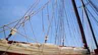 Folded sail and rigging of a sailboat against the sky video