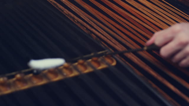Folk musical instrument. Cimbalom music playing. String instruments background video