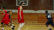 Following the action of basketball players on the court during a game, player makes a slam dunk video