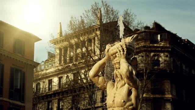 Fontana del Tritone in piazza Barberini of Rome video