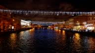 Fontanka river perspective at night, new year garland at Saint Petersburg video