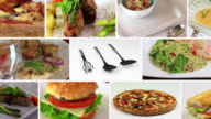 Food Composite Collage Hamburger Spaghetti Pizza Kitchen 4k video