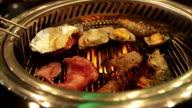 Food on Korean BBQ grill Video HD. video
