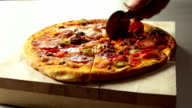Food pizza slicing  FO video