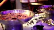 Food preparation at restaurant kitchen video