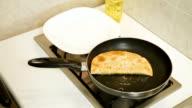 Food Preparation - Chebureki Fried In Oil video