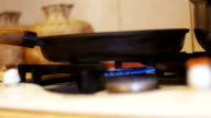 Food Preparation on Gas Stove Ignition video