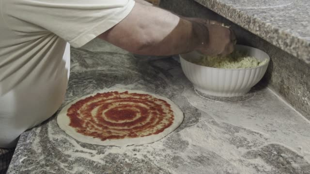Food Preparation Pizza Making Cook Working In Italian Restaurant Kitchen video