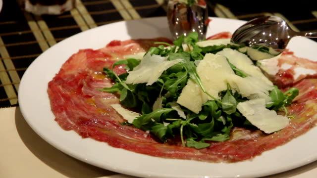 Food restaurant carpaccio video
