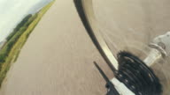 4K footage: bicycle Transmission gears with chain working moment during race video