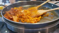 4K footage : Korean Cuisine , Dak Galbi , Fried rice with chicken and seafood sauce video