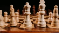 Footage of a chess board and its pieces lined up, the shot is taken behind white pieces looking into black ones, the shot is moving from left to right video
