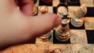 Footage of a chess game and a castling move video