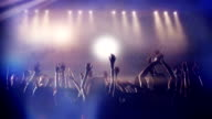 Footage of a crowd partying, dancing slow motion at a concert video
