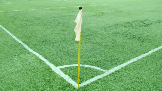 Footage of a football corner flag on a windy day video