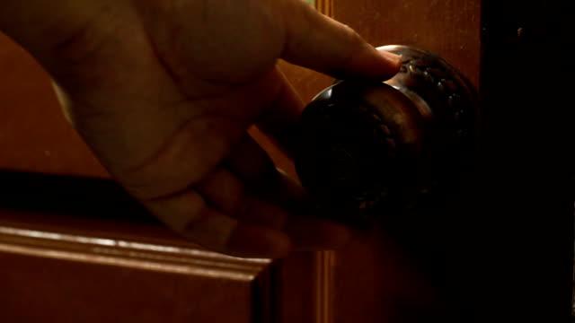 footage of man hand open and lock the door video