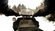 POV footage of Man Riding a Snowmobile in Forest video