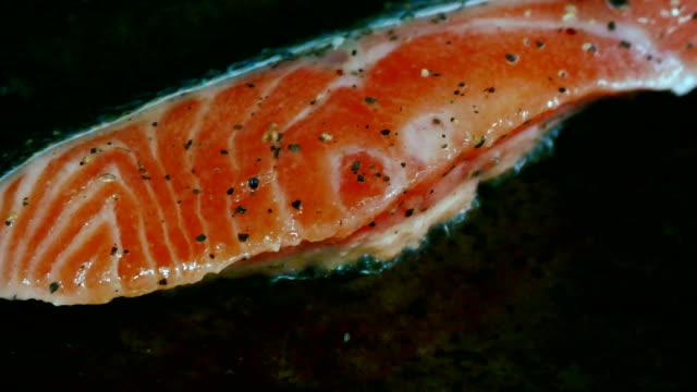 4K Footage of Pan-fried Salmon. video
