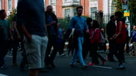 Football fans arriving for a soccer match in London between Chelsea and Arsenal video