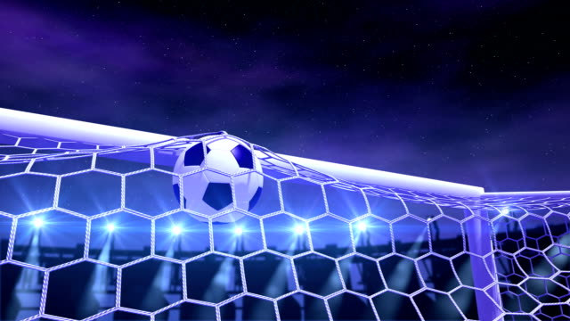 football is slowly flying in the goal video