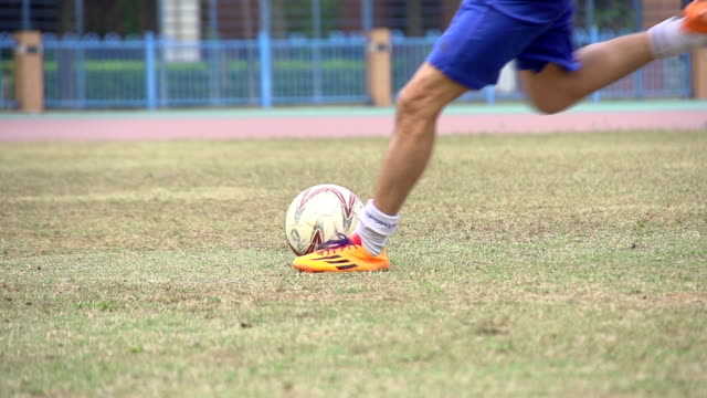 Football Player Kicking The Ball On Pitch video