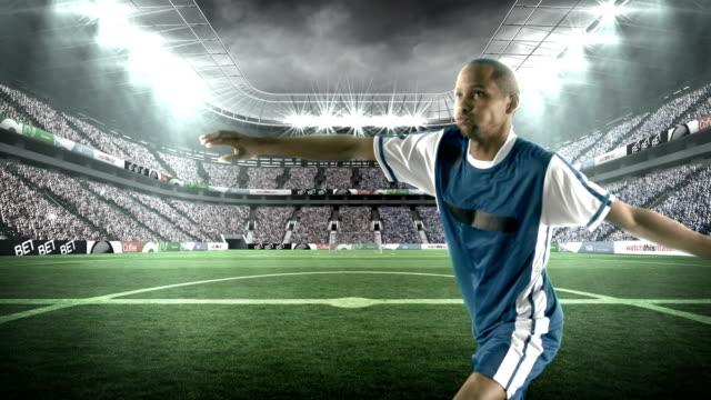 Football player kicking the football video