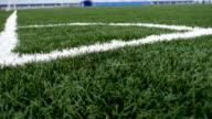 football Soccer field corner with green artificial grass sport video