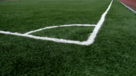 football Soccer field corner with green artificial sport grass video