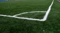 football Soccer field corner with green sport artificial grass video