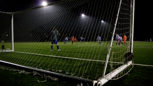 Football / Soccer Goal scored from behind the Goalposts (Night) video