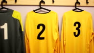 Football / Soccer strip in changing room (DOLLY) close video