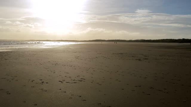 Footprints cover sandy beach, under setting sun, by sea shore video