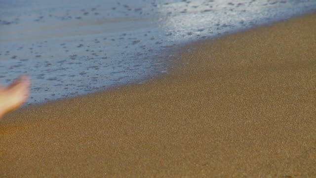 Footsteps In The Sand Then Washed Away - Full HD video
