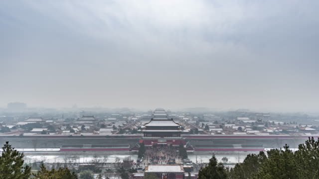 T/L WS HA Forbidden City Covered with Thin Layer of Snow, Beijing, China video