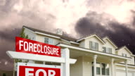 Foreclosure Home For Sale Sign and Clouds video