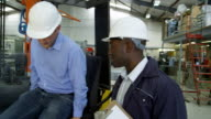 Fork lift workers change shift duty video