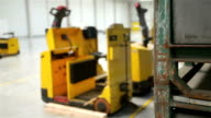 Forklift and rack in a modern storehouse video