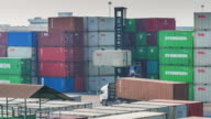 Forklift during operation of moving cargo container video