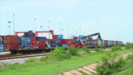 Forklift handling container box loading to freight train video