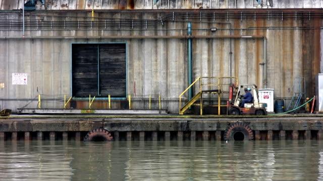 Forklift. Industrial dock. video
