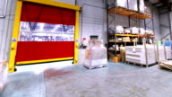 Forklift truck in production factory business video
