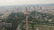 former television tower in Frankfurt aerial shot video