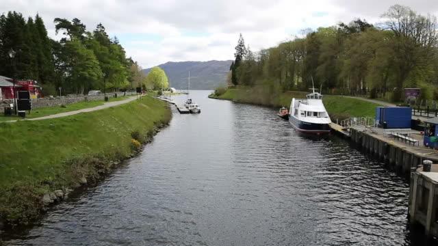 Fort Augustus Scotland UK Caledonian canal meets Loch ness video