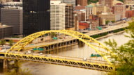 Fort Pitt Bridge Rush Hour Pittsburgh Downtown City Skyline video