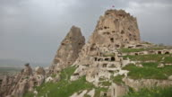 Fortress on the rock in the town of Uchisar in Cappadocia, Turkey video