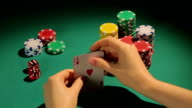 Fortunate poker player checking cards, getting chance to win game video